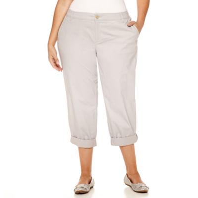Liz Claiborne Mid Rise Plus Cropped Pants