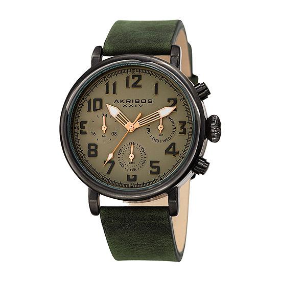 Akribos XXIV Mens Chronograph Green Leather Strap Watch-A-1028gn