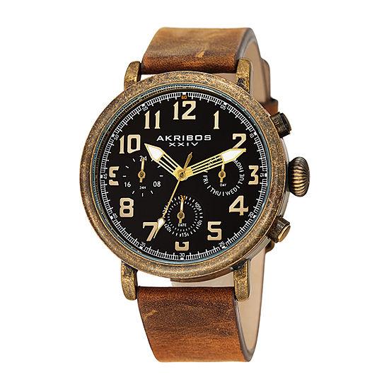 Akribos XXIV Mens Brown Strap Watch-A-1028ygbr