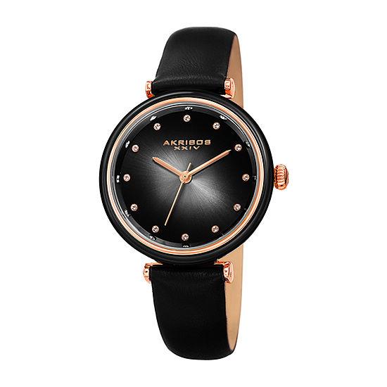 Akribos XXIV Womens Crystal Accent Black Leather Strap Watch-A-1035bk