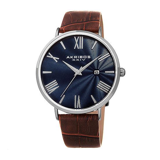 Akribos XXIV Mens Brown Leather Strap Watch-A-1041ssbr