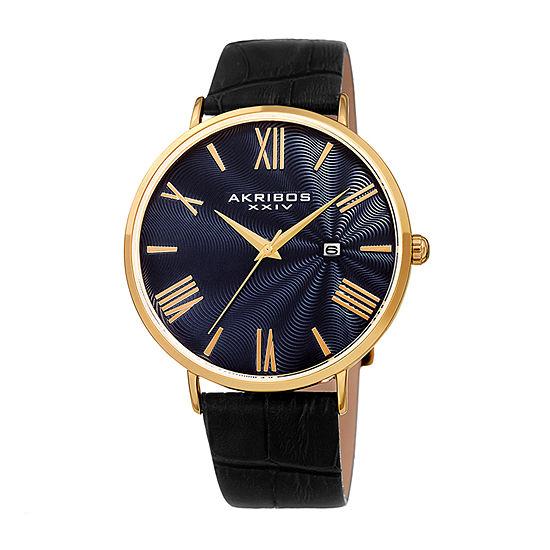 Akribos XXIV Mens Black Strap Watch-A-1041ygbu