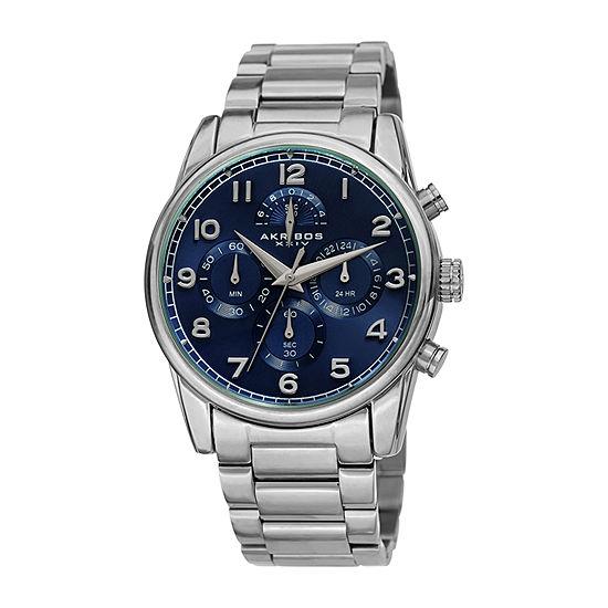 Akribos XXIV Mens Silver Tone Bracelet Watch-A-1042ssbu