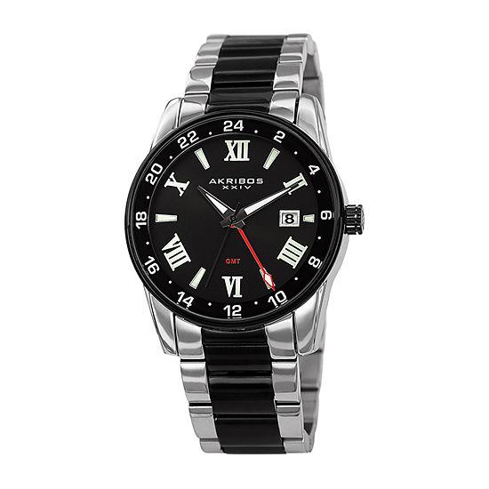 Akribos XXIV Mens Two Tone Stainless Steel Bracelet Watch-A-1055ttb