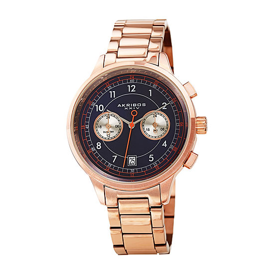 Akribos XXIV Mens Chronograph Rose Goldtone Stainless Steel Bracelet Watch-A-1071rgbu