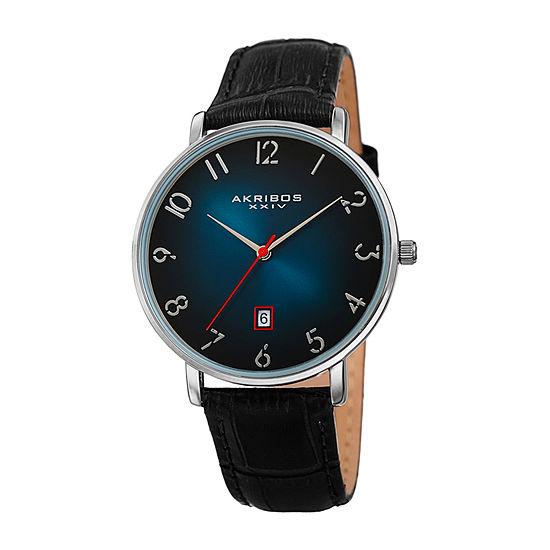 Akribos XXIV Mens Black Leather Strap Watch-A-1077tq