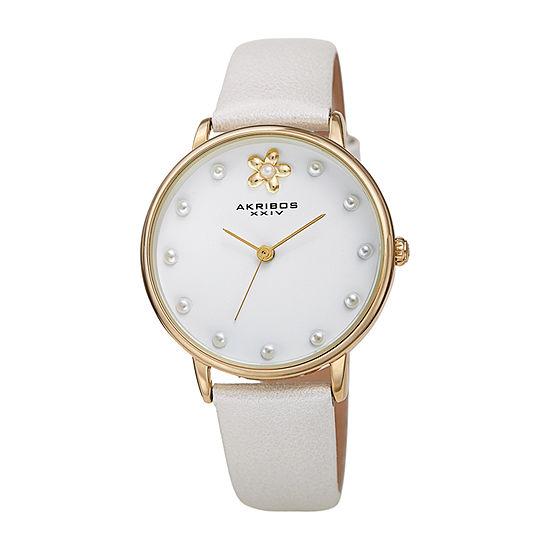 Akribos XXIV Womens White Leather Strap Watch-A-1084wt