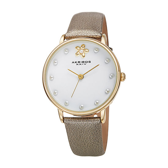 Akribos XXIV Womens Gray Leather Strap Watch-A-1084yg