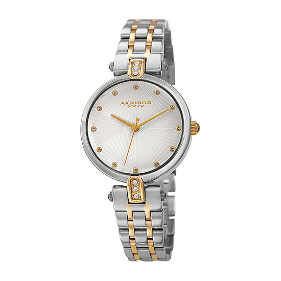 Akribos XXIV Womens Crystal Accent Two Tone Stainless Steel Bracelet Watch-A-1085ttg