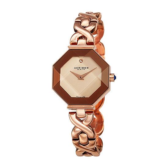 Akribos XXIV Womens Diamond Accent Crystal Accent Rose Goldtone Bracelet Watch-A-1086rg