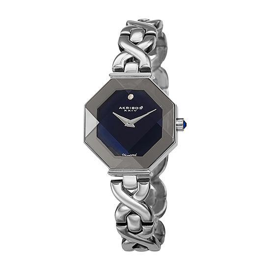 Akribos XXIV Womens Diamond Accent Crystal Accent Silver Tone Bracelet Watch-A-1086ssbu