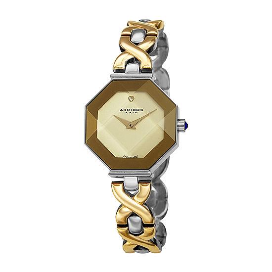 Akribos XXIV Womens Diamond Accent Crystal Accent Two Tone Bracelet Watch-A-1086ttg