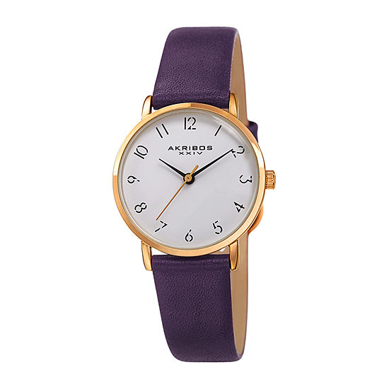Akribos XXIV Womens Purple Leather Strap Watch-A-1087pu
