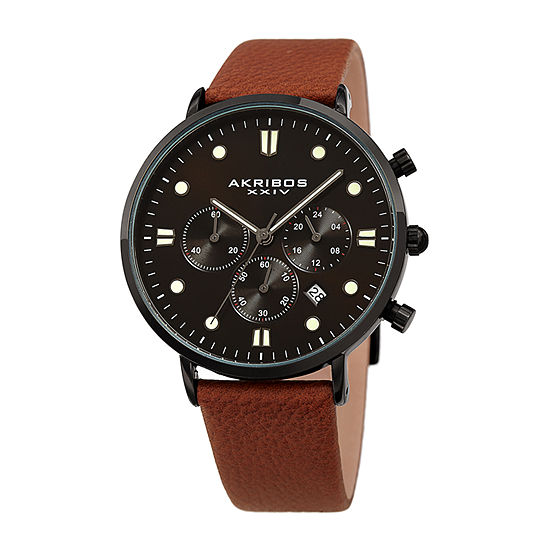 Akribos XXIV Mens Chronograph Brown Leather Strap Watch-A-1090br