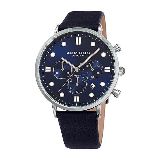 Akribos XXIV Mens Chronograph Blue Leather Strap Watch-A-1090ssbu