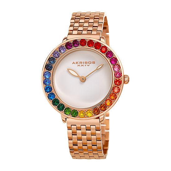 Akribos XXIV Womens Rose Goldtone Bracelet Watch-A-1091rg