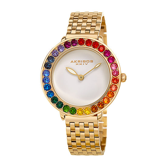 Akribos XXIV Womens Crystal Accent Gold Tone Stainless Steel Bracelet Watch-A-1091yg