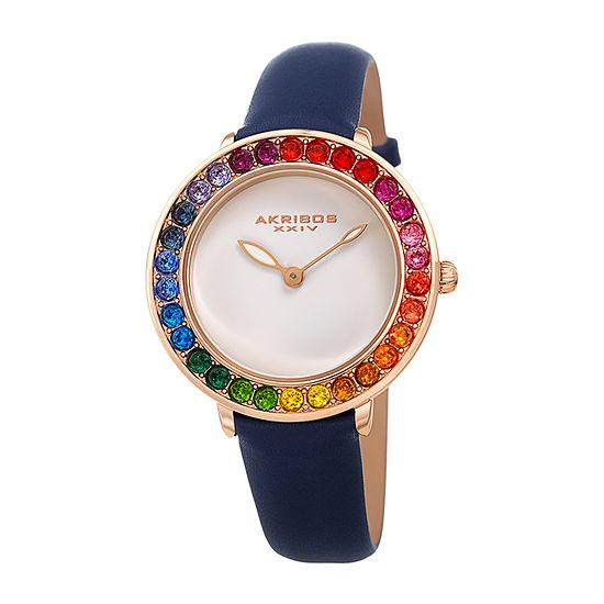 Akribos XXIV Womens Crystal Accent Blue Leather Strap Watch-A-1092bu