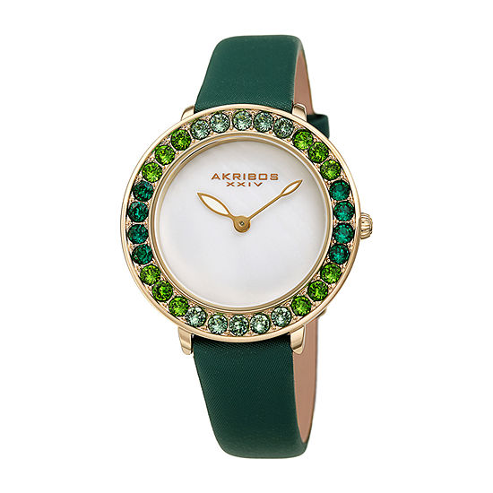 Akribos XXIV Womens Crystal Accent Green Leather Strap Watch-A-1093gn