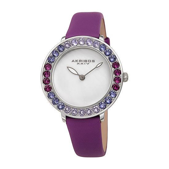 Akribos XXIV Womens Purple Strap Watch-A-1093pu
