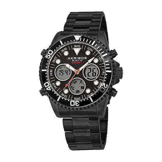 Akribos XXIV Mens Black Stainless Steel Bracelet Watch-A-1094bk