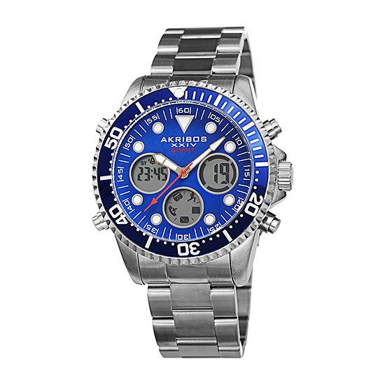Akribos XXIV Mens Silver Tone Bracelet Watch-A-1094ssbu