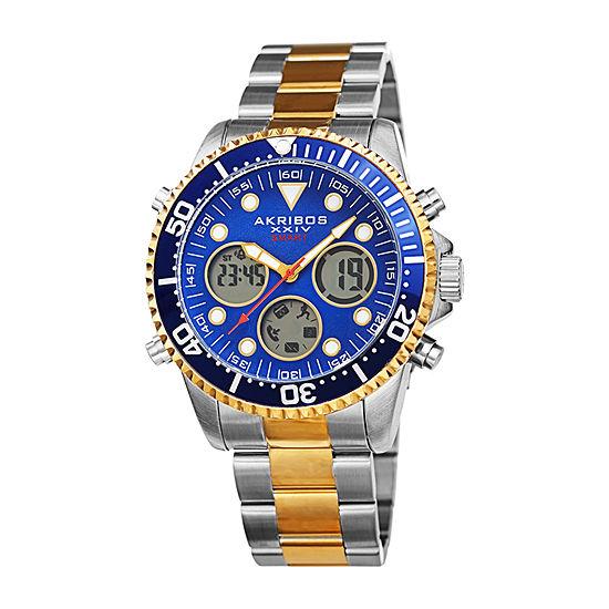 Akribos XXIV Mens Two Tone Stainless Steel Bracelet Watch-A-1094ttbu