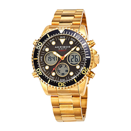 Akribos XXIV Mens Gold Tone Stainless Steel Bracelet Watch - A-1094ygbk