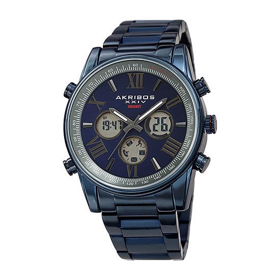 Akribos XXIV Mens Blue Stainless Steel Bracelet Watch-A-1095bu