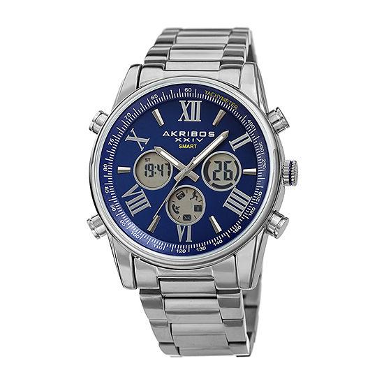 Akribos XXIV Mens Silver Tone Stainless Steel Bracelet Watch-A-1095ssbu
