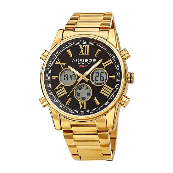 Akribos XXIV Mens Gold Tone Stainless Steel Bracelet Watch-A-1095ygbk