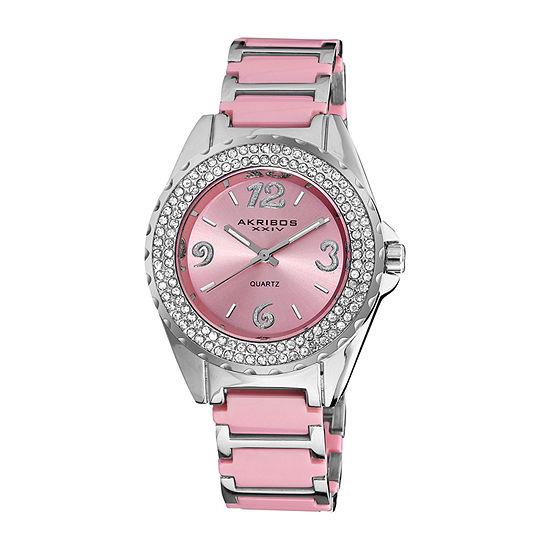 Akribos XXIV Womens Crystal Accent Silver Tone Bracelet Watch-A-514pk