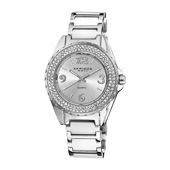 Akribos XXIV Womens Crystal Accent Silver Tone Bracelet Watch - A-514wt