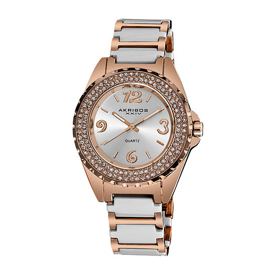 Akribos XXIV Womens Crystal Accent Rose Goldtone Bracelet Watch-A-514wtr