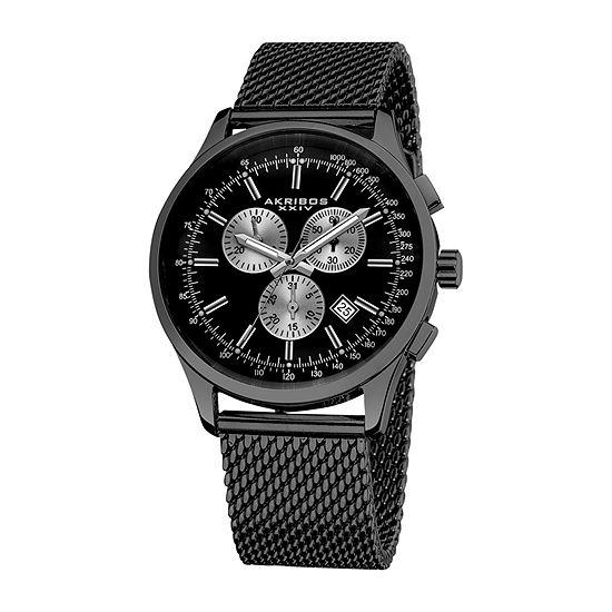 Akribos XXIV Mens Chronograph Black Stainless Steel Bracelet Watch-A-625bk