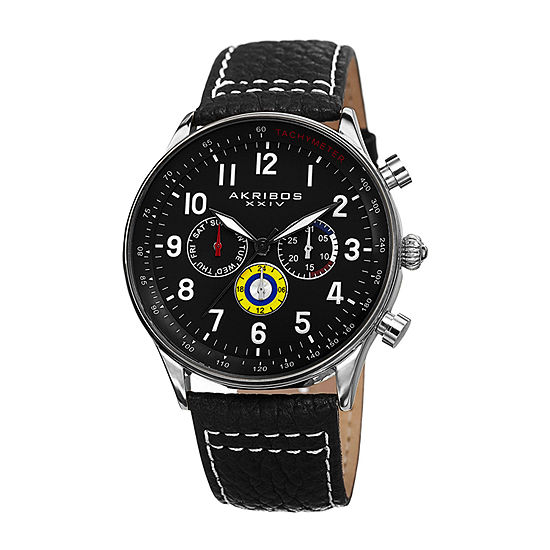 Akribos XXIV Mens Black Strap Watch-A-751ssb
