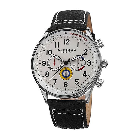 Akribos XXIV Mens Black Leather Strap Watch-A-751ssw