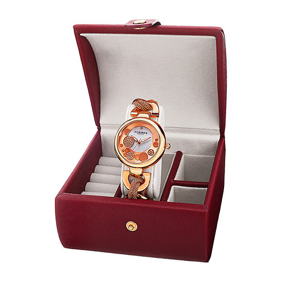 Akribos XXIV Womens Crystal Accent Rose Goldtone Bracelet Watch-A-895rg-Bx