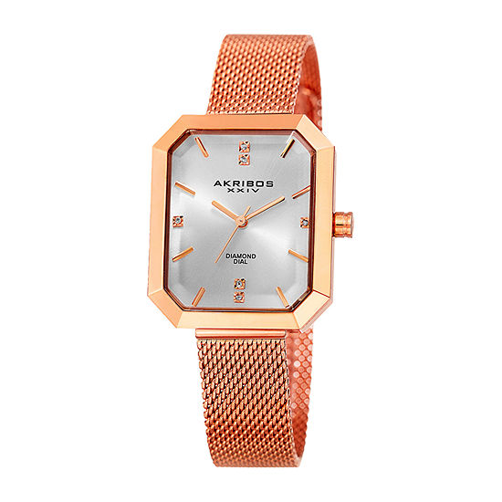Akribos XXIV Womens Diamond Accent Crystal Accent Rose Goldtone Stainless Steel Bracelet Watch-A-909rg