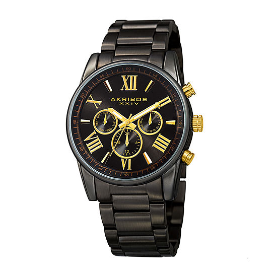 Akribos XXIV Mens Black Stainless Steel Bracelet Watch-A-912bk