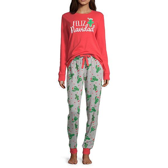 Secret Santa Feliz Navidad Family Womens-Tall Pant Pajama Set 2-pc. Long Sleeve