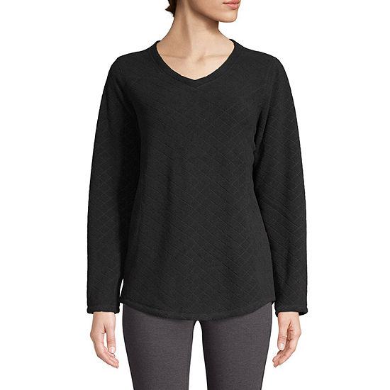 St. John's Bay Active Womens V Neck Long Sleeve Sweatshirt Tall