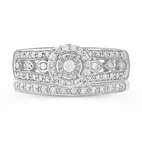 Womens 3 8 Ct T W Genuine Diamond 10k White Gold Bridal Set