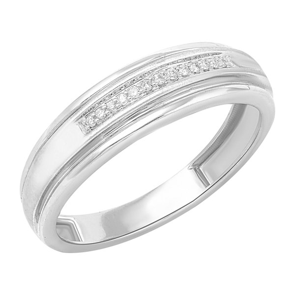1/8 CT. T.W. Genuine Diamond 10K White Gold Band