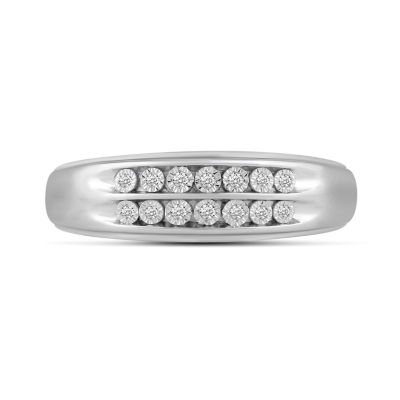 Mens 1/8 CT. T.W. Genuine Diamond 10K White Gold Wedding Band