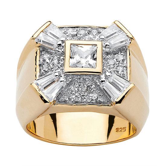 Diamonart Mens 2 1/2 CT. T.W. White Cubic Zirconia 18K Gold Over Silver Square Fashion Ring