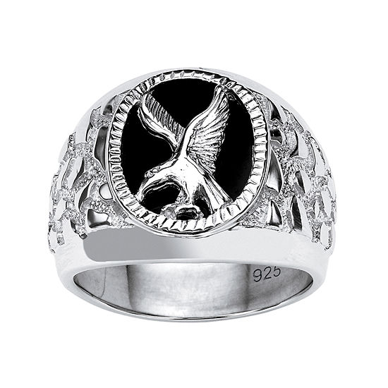 Eagle Mens Genuine Black Onyx Sterling Silver Fashion Ring