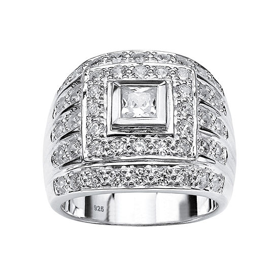 Diamonart Mens 3 CT. T.W. White Cubic Zirconia Sterling Silver Fashion Ring