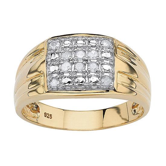 Mens 1/4 CT. T.W. Genuine White Diamond 18K Gold Over Silver Fashion Ring