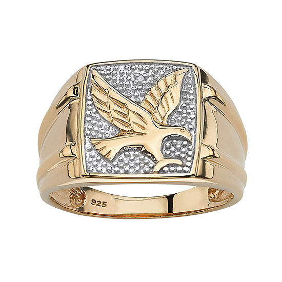 Mens Diamond Accent Genuine White Diamond 18K Gold Over Silver Fashion Ring